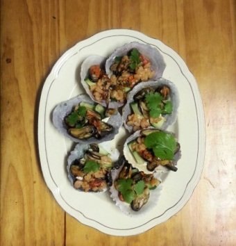 Mussel and calamari coriander canapes krispiebaking for How to make canape shells at home